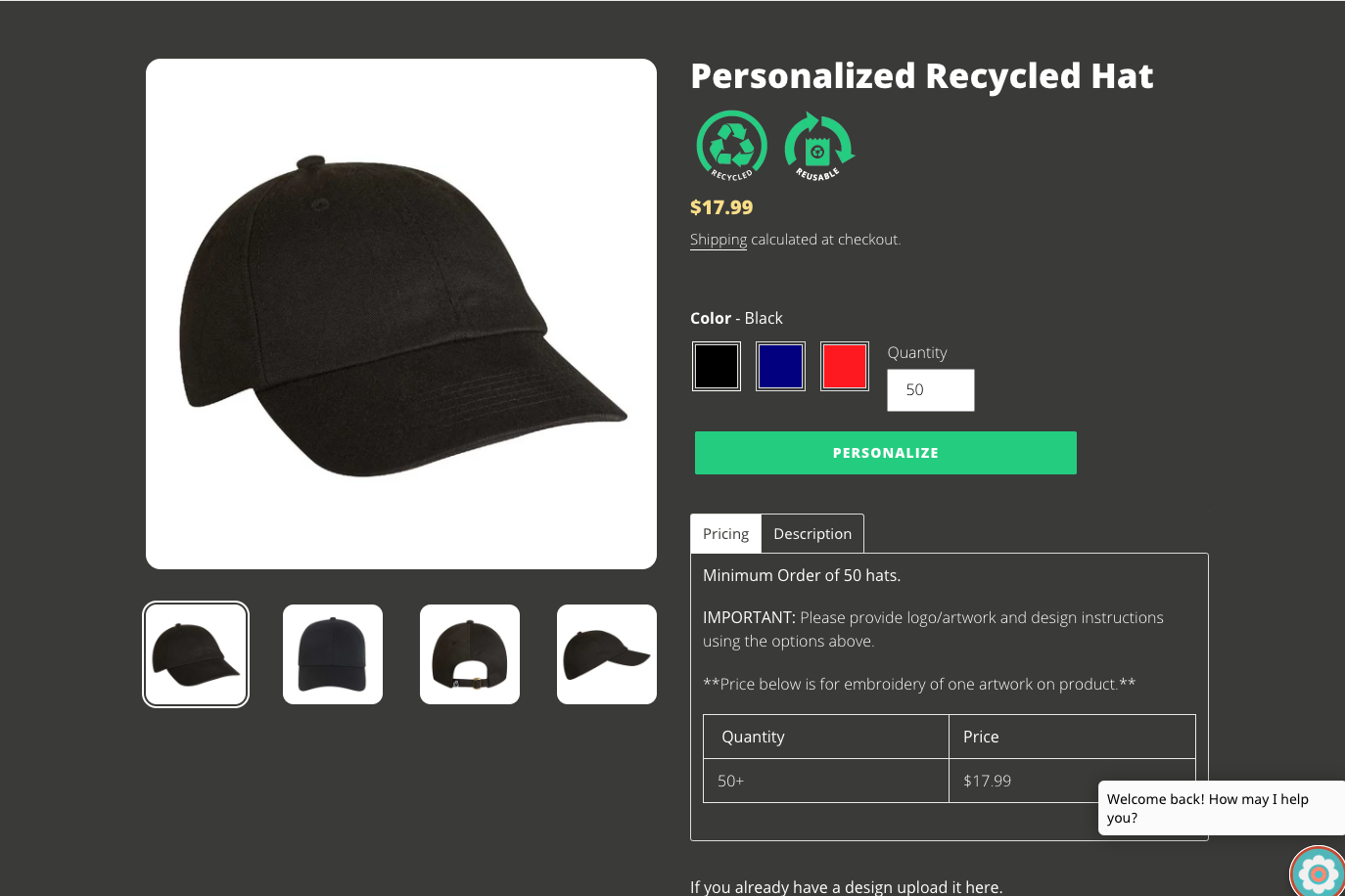 Evergreen Personalized Recycled Hat Product Page