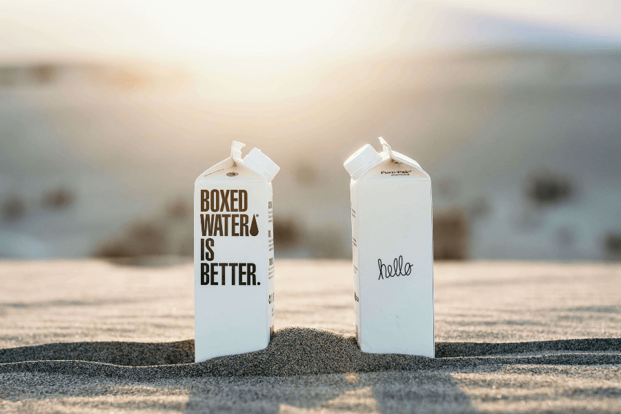 Paper Milk Cartons Sunset